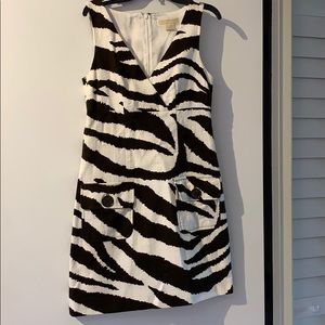 Animal print linen shift fitted dress
